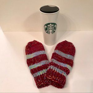 NEW Handmade Knitted Multicoloured Striped Mittens